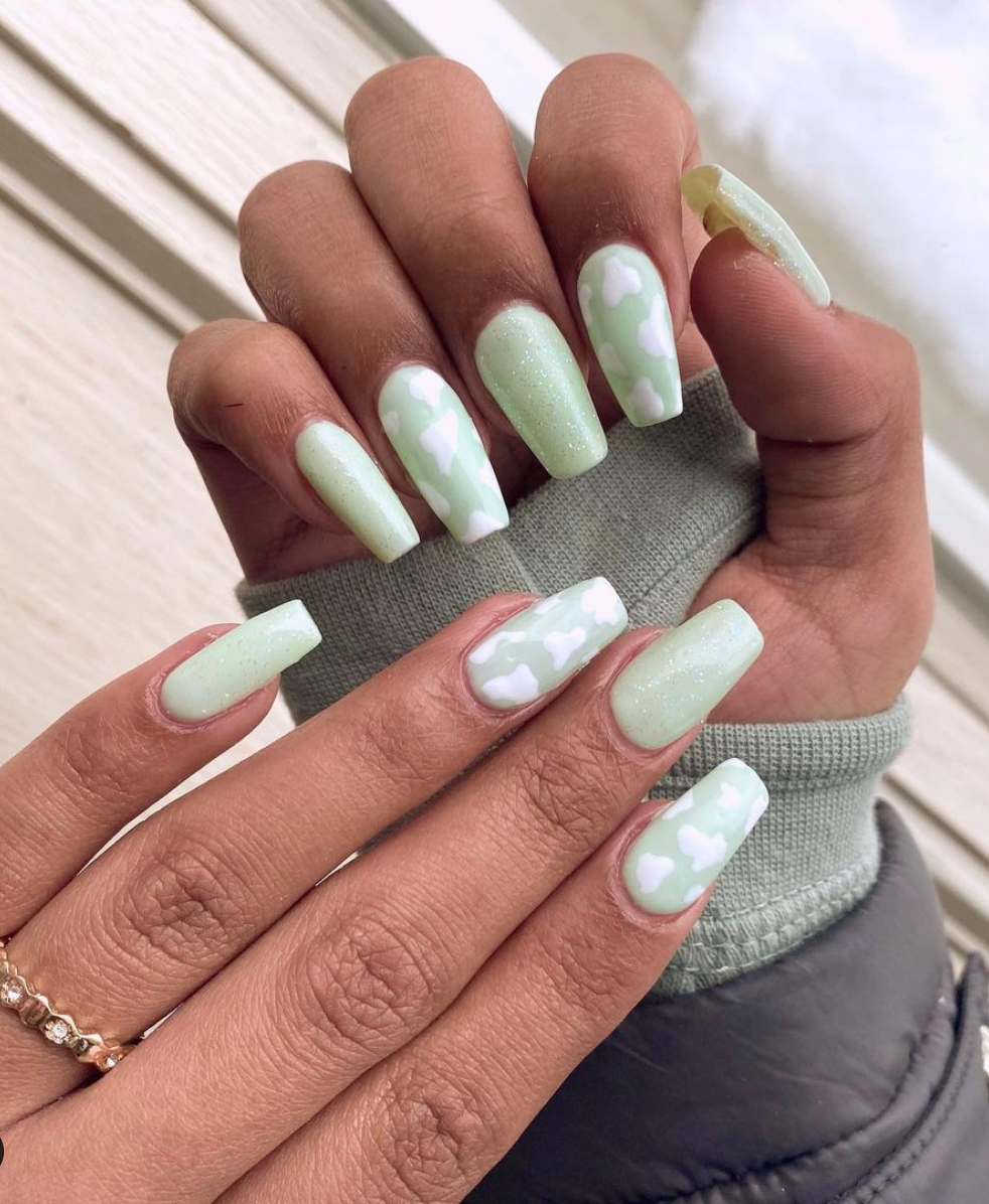 9 Top Spring Nail Colors for 9 in 9   Green acrylic nails ...