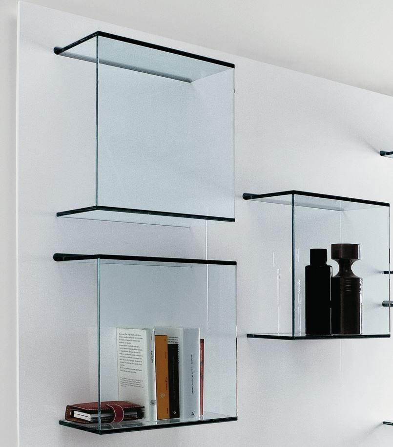 Dazibao Wall Mounted Glass Bookcase By Tonellidesign Glass Bookcase Glass Wall Shelves Glass Display Shelves