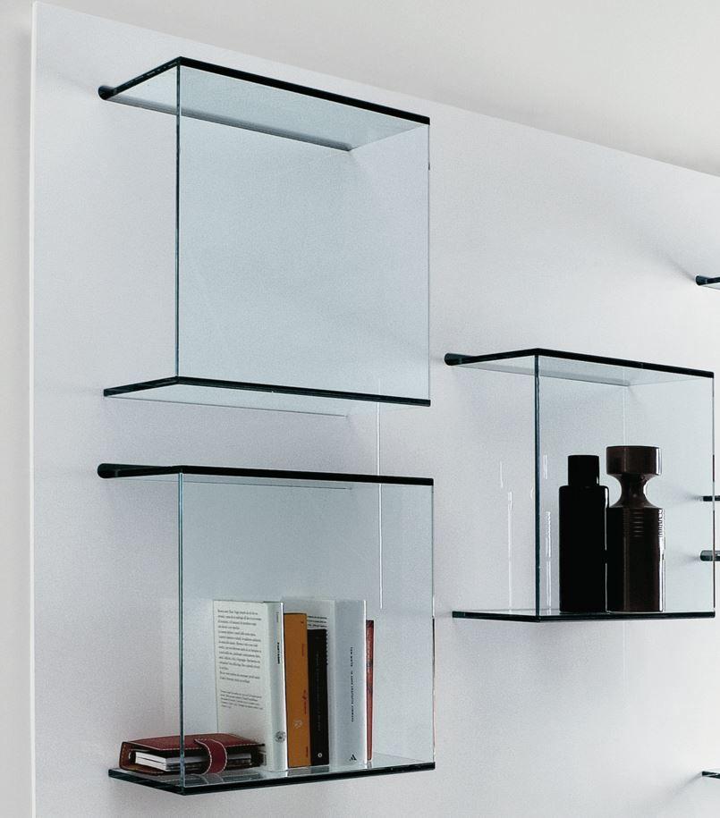 Dazibao Wall Mounted Glass Bookcase By Tonellidesign Glass Bookcase Glass Wall Shelves Glass Shelves