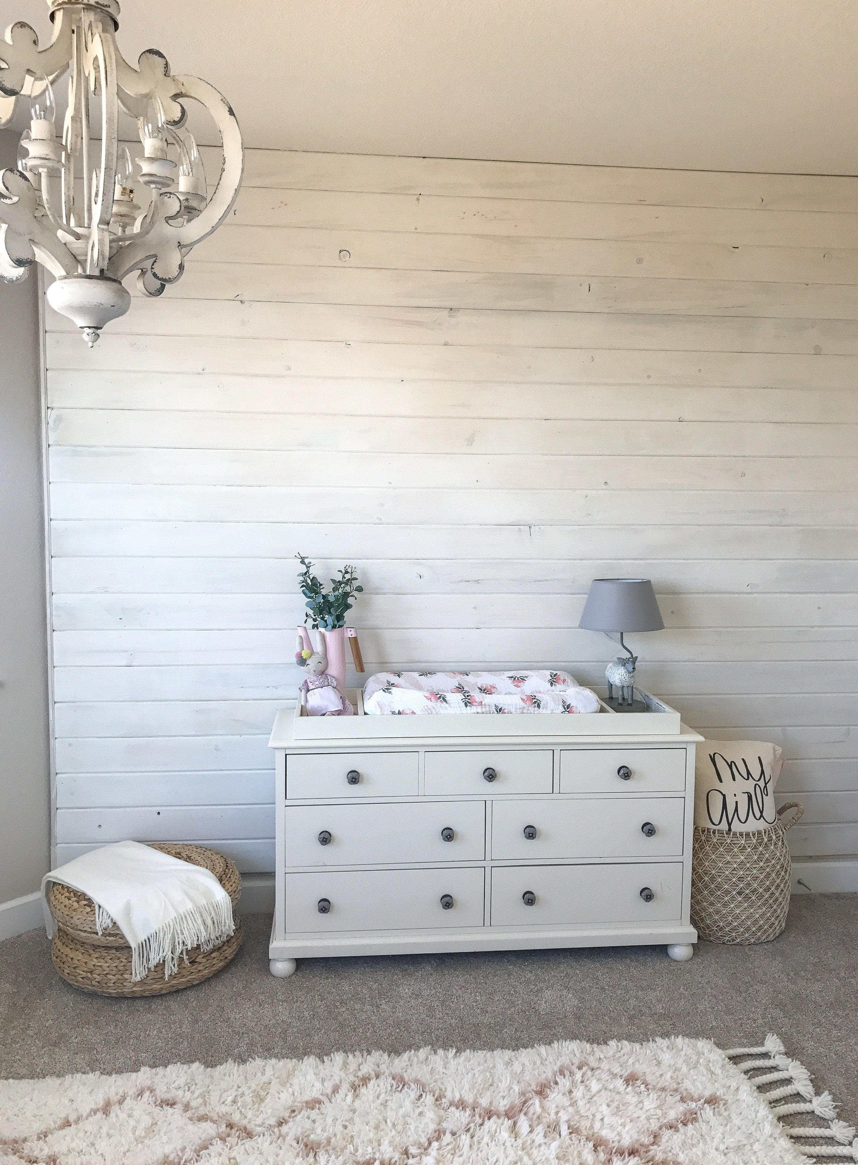 Weekly Blooms A Whitewashed Wall In The Nursery Farmhouse Blooms Plank Walls White Wash Faux Brick Walls