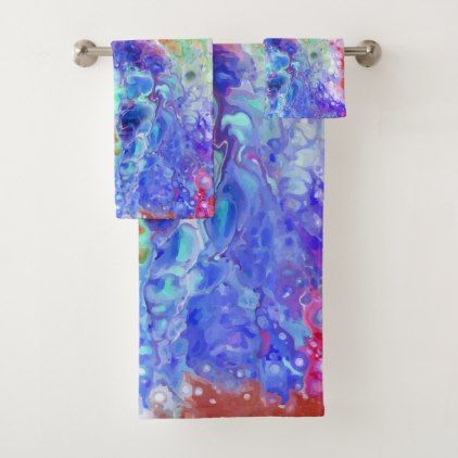 Abstract Bath Towel Set Watercolor Gifts Style Unique Ideas Diy
