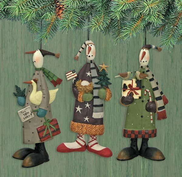 12 Days of Christmas Snowman Ornaments Set of Three : The ...