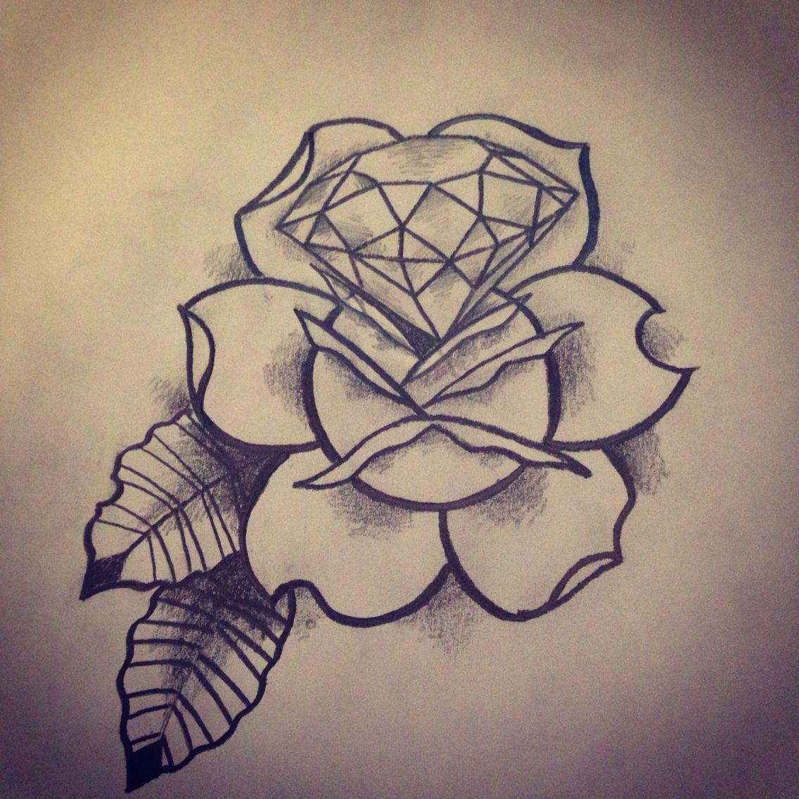 traditional rose and diamond sketch tattoo bocetos