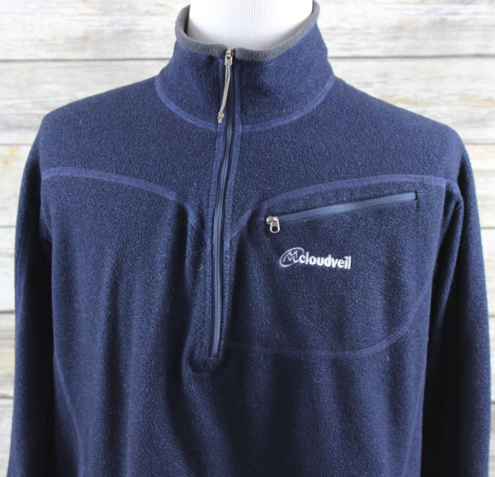 Cloudveil zip pullover fleece jacket mens large blue black