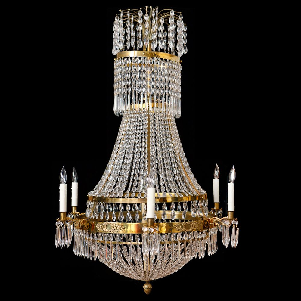 Six light swedish antique empire chandelier in brass and cut crystal six light swedish antique empire chandelier in brass and cut crystal arubaitofo Image collections