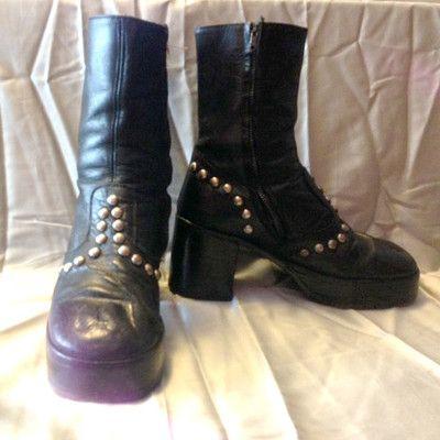 11abc63a35f Mens-Vintage-70s-Studded-Platform-Boots-Glam-Rock-Disco-Kiss-New-York-Dolls