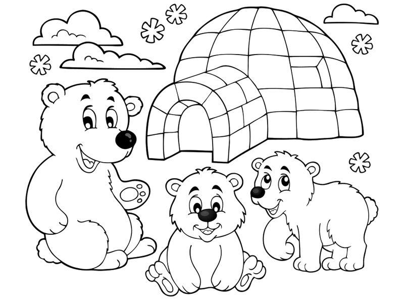 30 Coloriages D Hiver 4 Coloriage Hiver Coloriage Ours Polaire Coloriage Famille