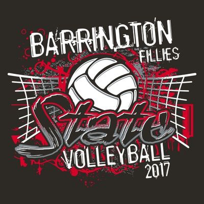 Three Color State Volleyball Tee Shirt Design With Net Ball And Background Splash Volleyball Volleyball Shirt Designs Volleyball Shirts Volleyball Designs