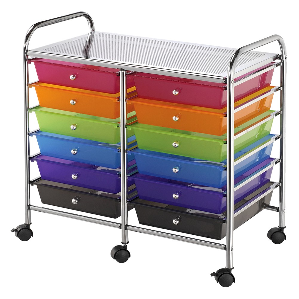 Doublewide storage cart with 12 drawers multicolor