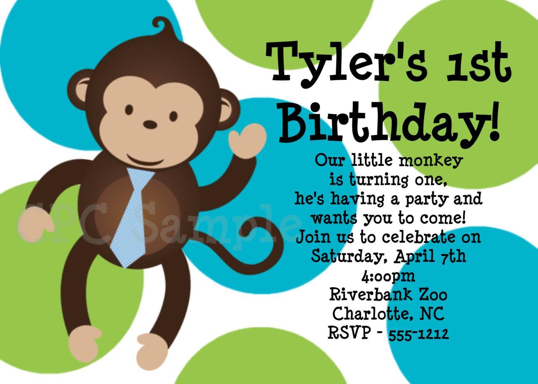 Boy Mod Monkey Birthday Invitation Boy Mod Monkey Birthday Party ...