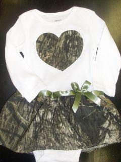 Mossy Oak/ Hunting/ Camo/ Infant   Baby Girl Onesie Dress (Sizes 3mos