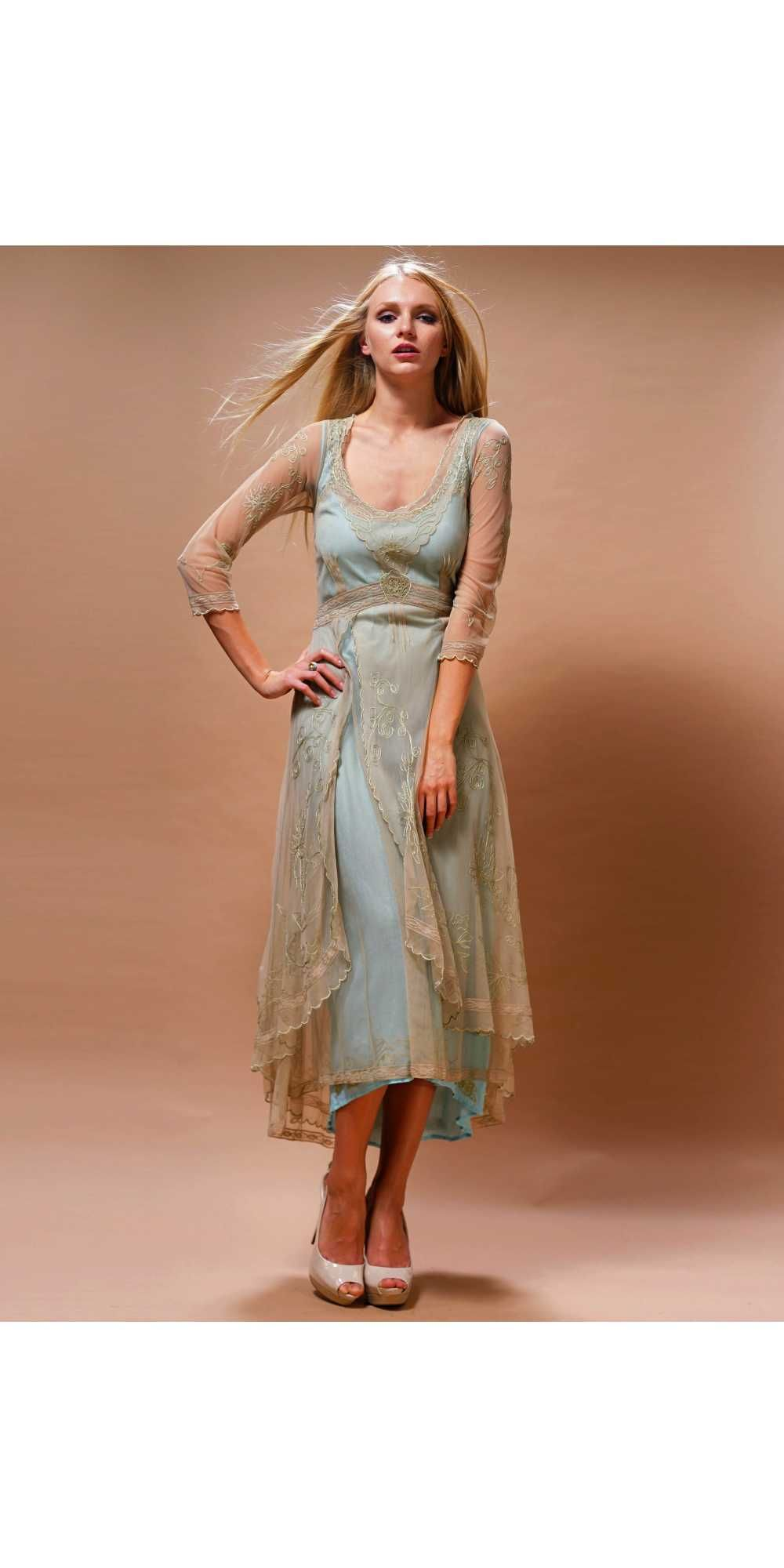 Downton Abbey Tea Party Gown in Sage/Turquoise by Nataya.  I love the soft colour combination!