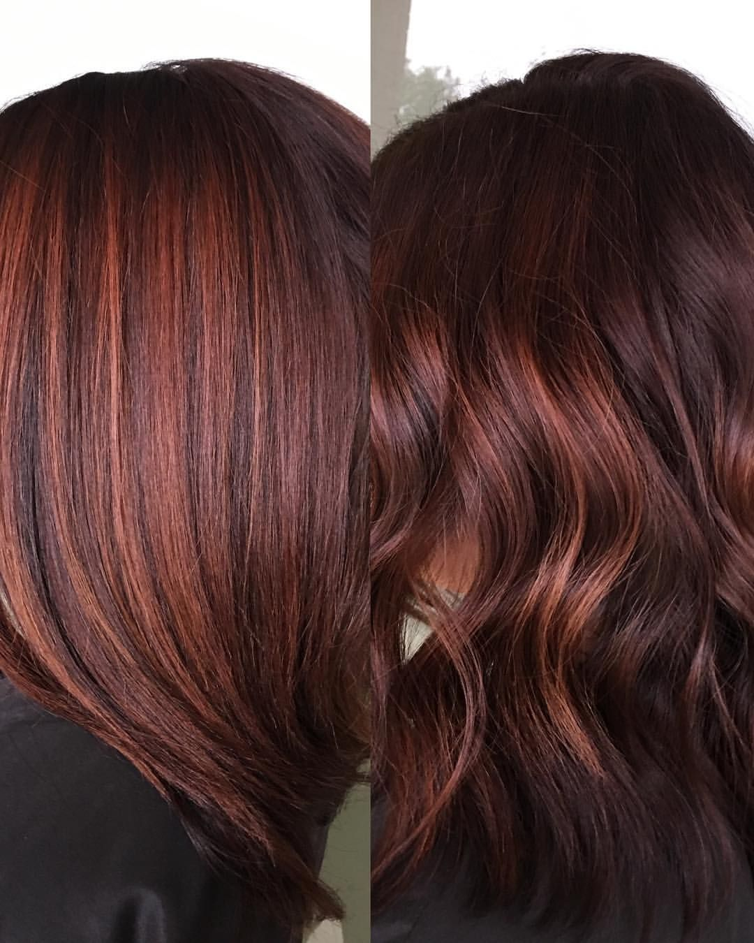 Chocolate Raspberry Red Brown Warmth Painted From A Dark Permanent Color Toned With Wella Colo Hair Color Formulas Wella Hair Color Brunette Hair Color
