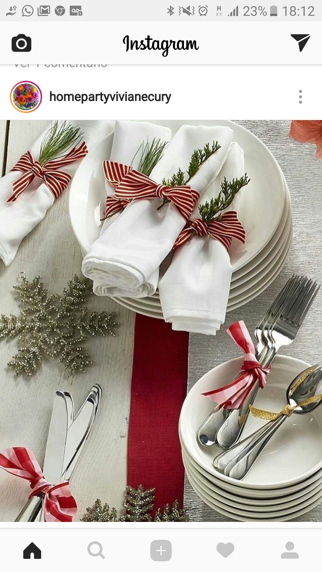 Table scape detail silverware napkin Christmas