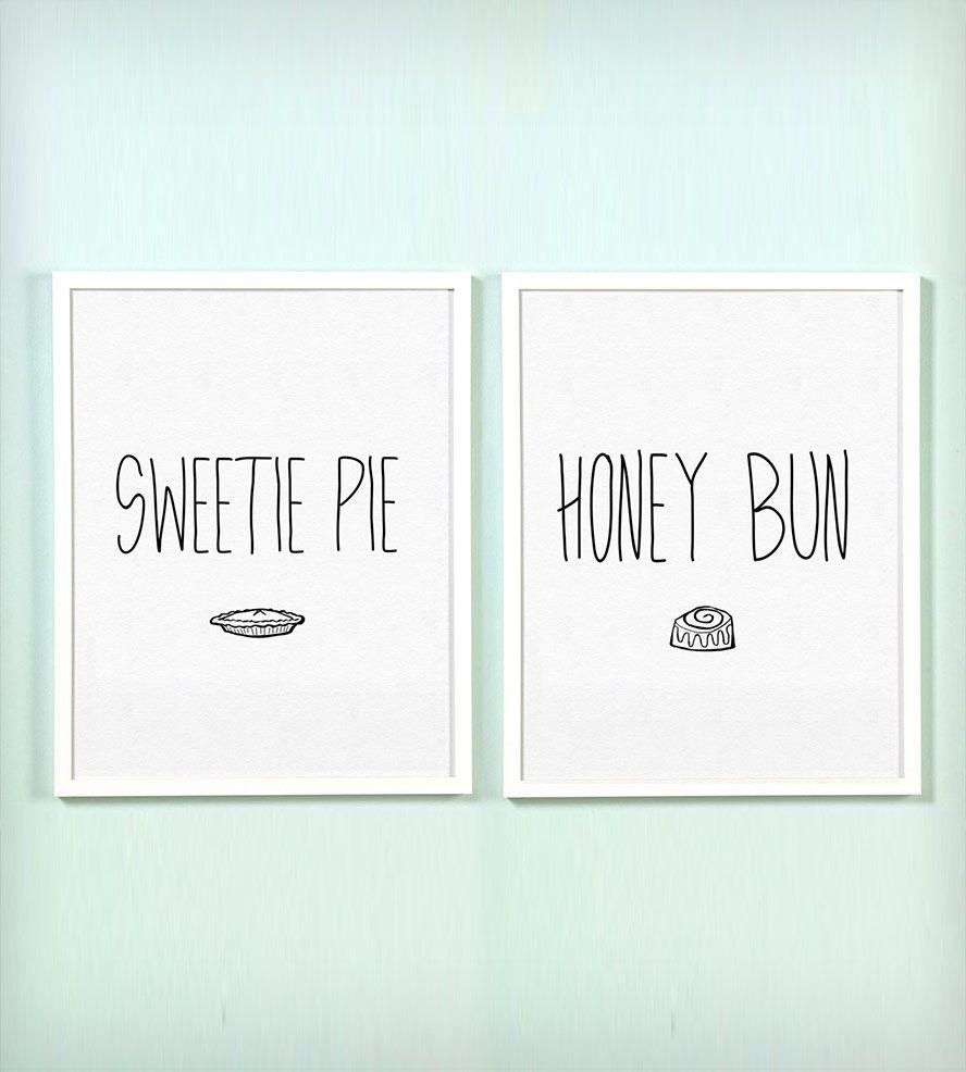 Sweetie Pie and Honey Bun Print Set | Honey, Pies and Printing