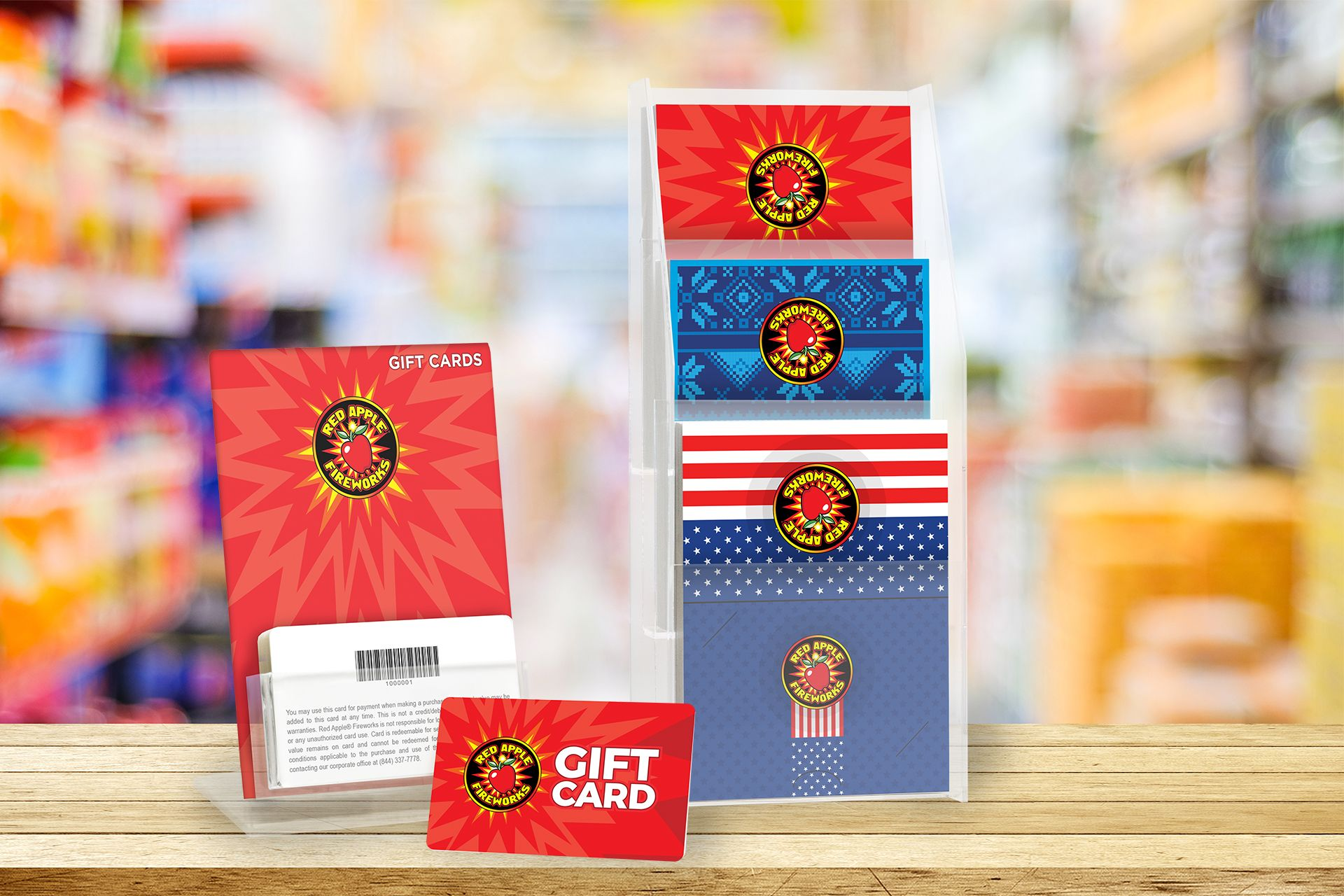 Red Apple Fireworks Gift Card With Custom Backers 4th Of July