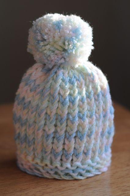 Loom Knit Puff Ball Infant Hat Barb Wells Ravelry Com