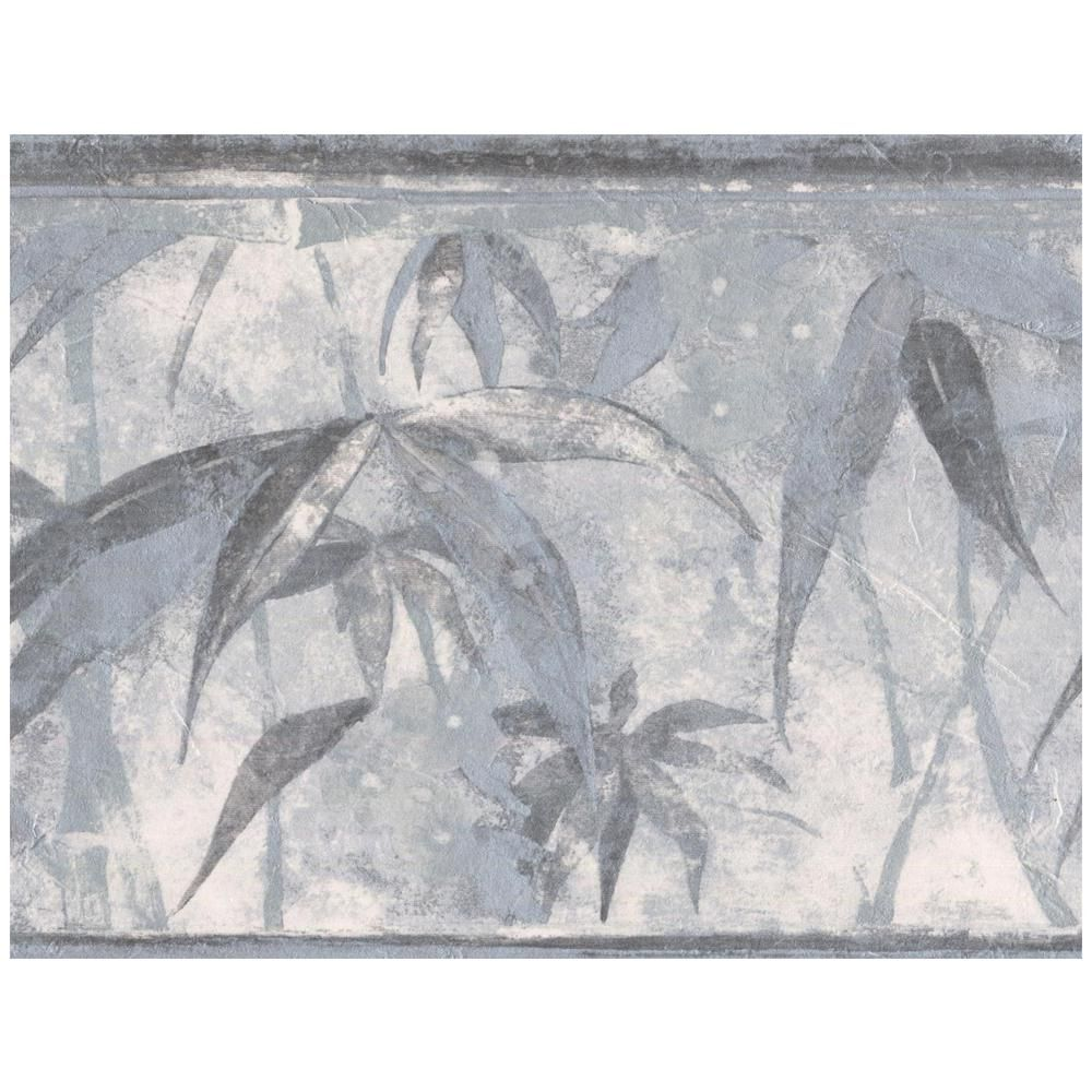 Norwall Tropical Plants Distressed Grey Prepasted
