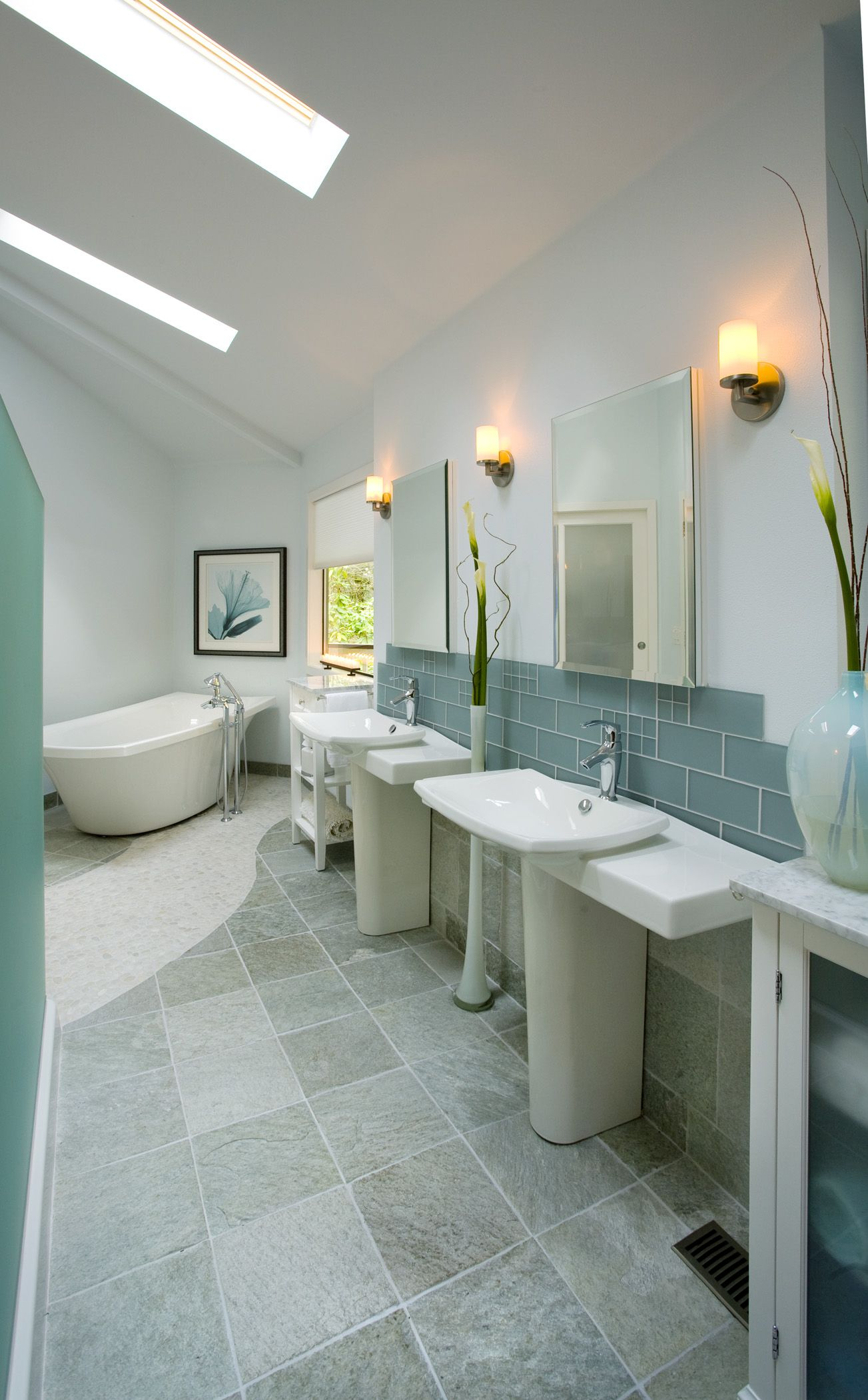 Glass Tile Spa Layout Stone Floor Bathroom Modern Master Bathroom Bathroom Styling