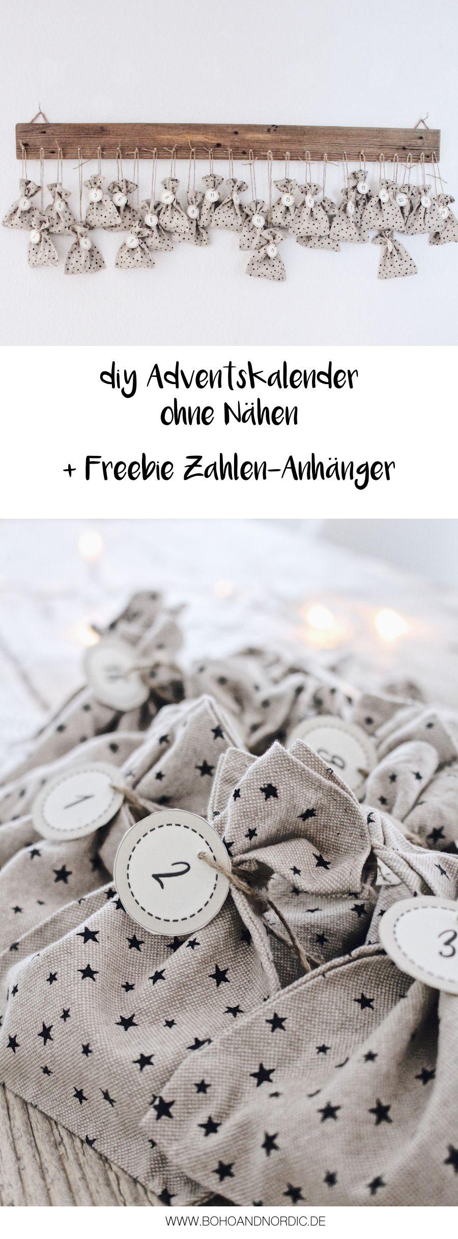 DIY Adventskalender basteln Freebie Zahlen zum Ausdrucken
