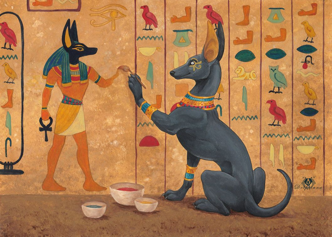 Painting Anubis By Dolphydolphiana Egyptian Painting Egyptian
