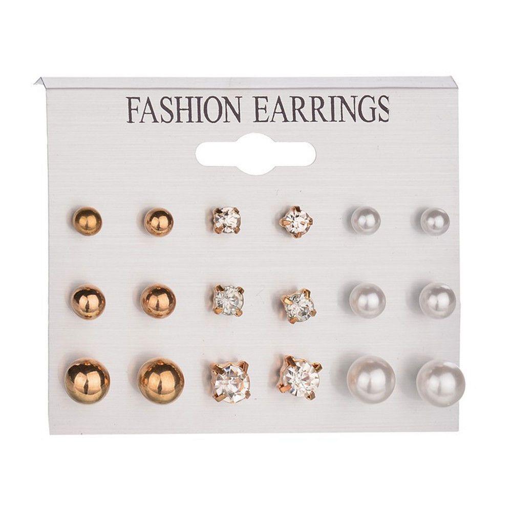 Lots Fashion Rhinestone Crystal Pearl Earrings Set Women Ear Stud Jewelry