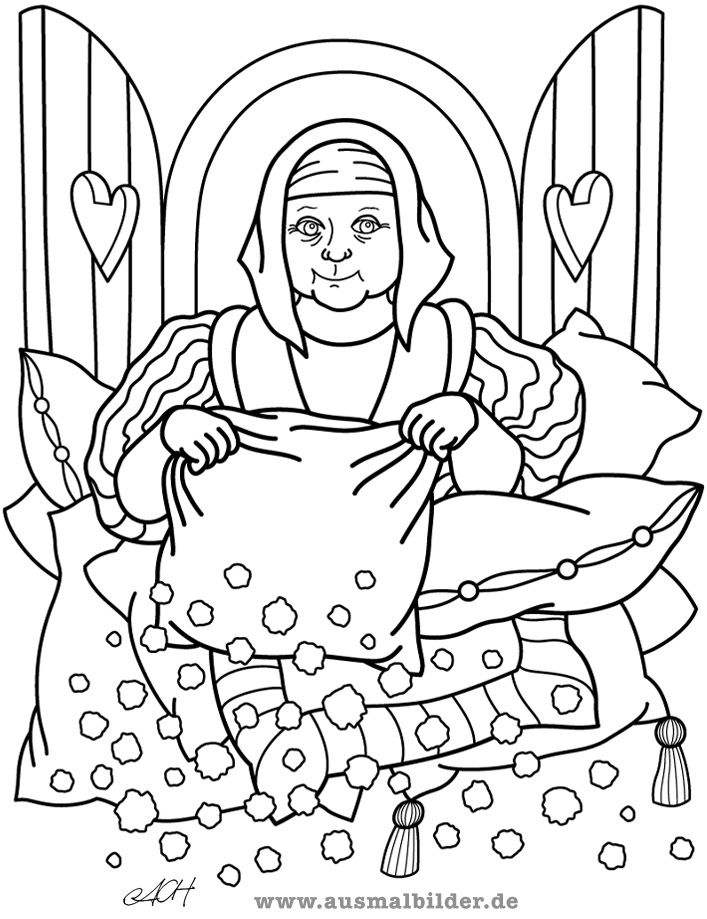 Vrouw Holle Grimm Google Zoeken Coloring Pages Street Art Fairy Tales