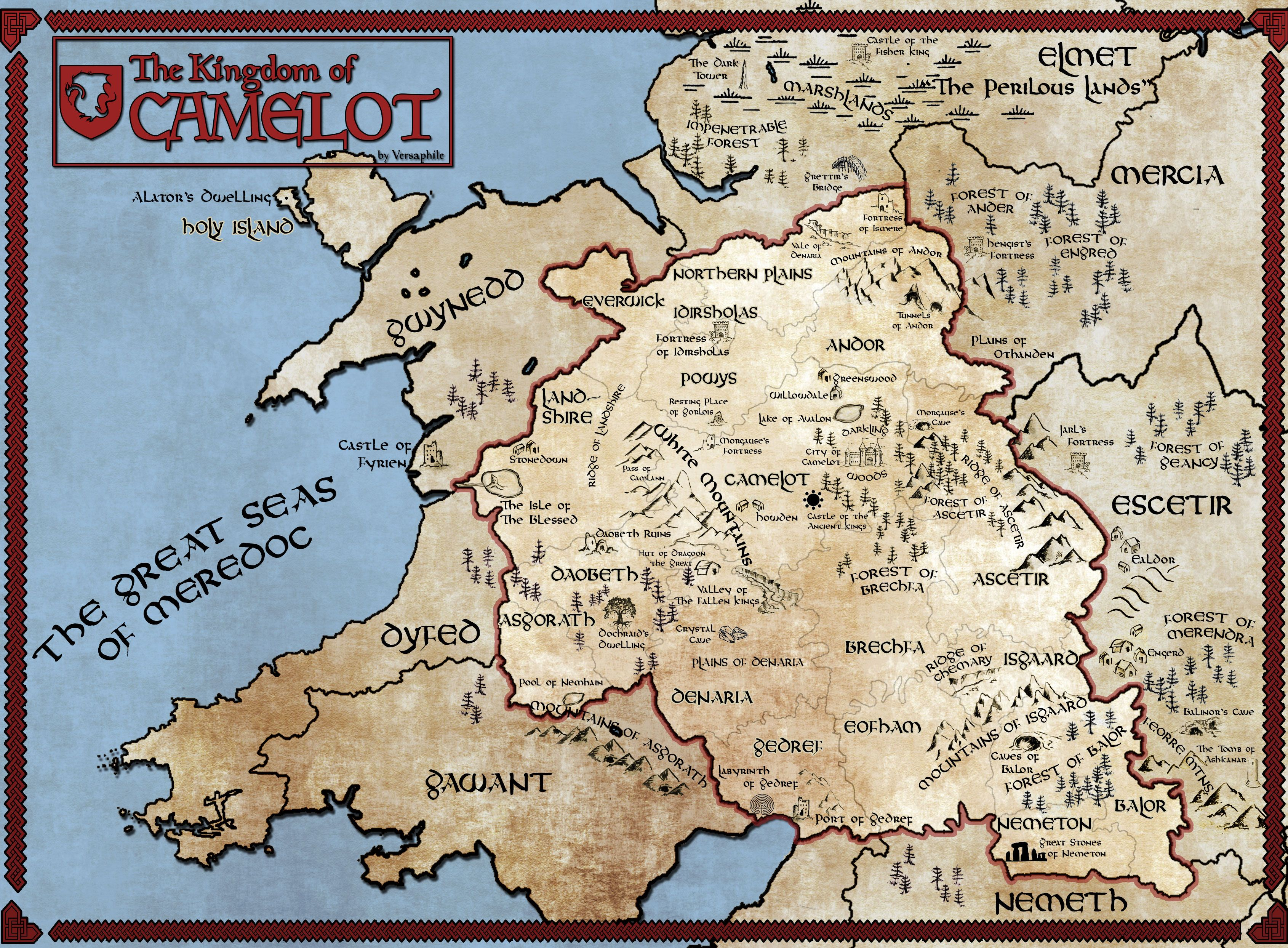 Map of Camelot | illustrated map in 2019 | Merlin, arthur