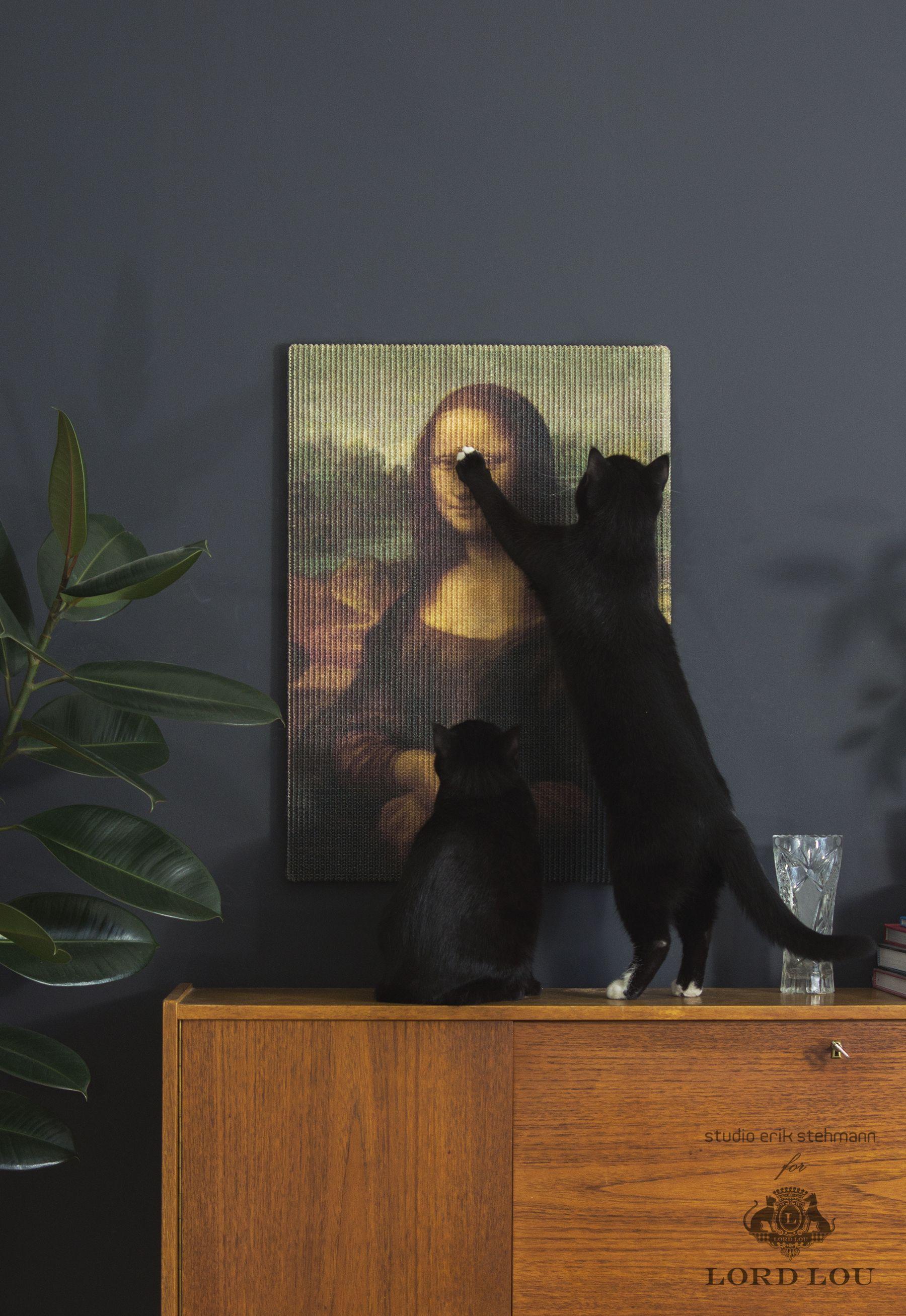 Copycat art scratcher Mona Lisa Lord Lou Cat memes