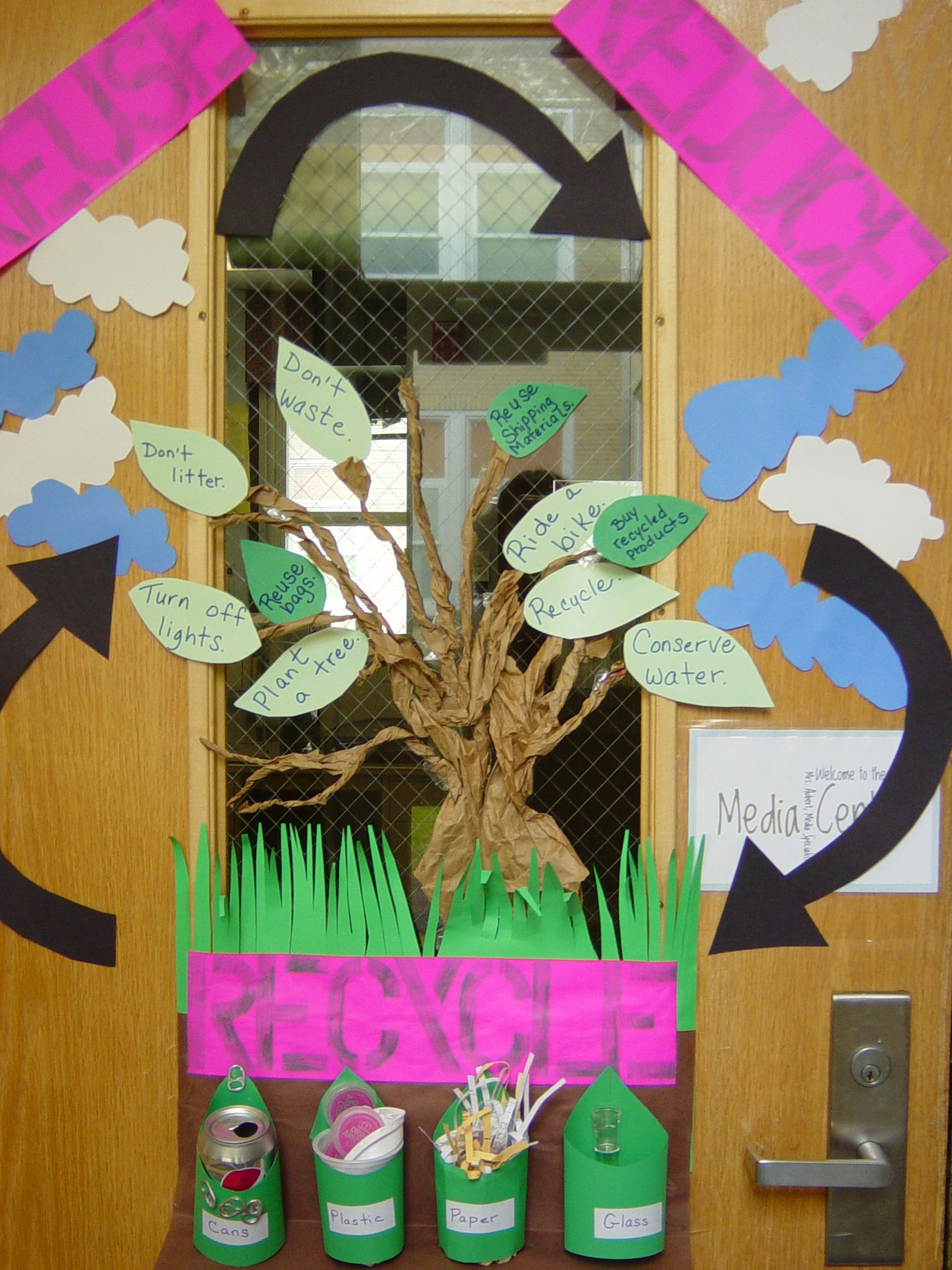 Door Decoration For My Media Center Recycle Theme