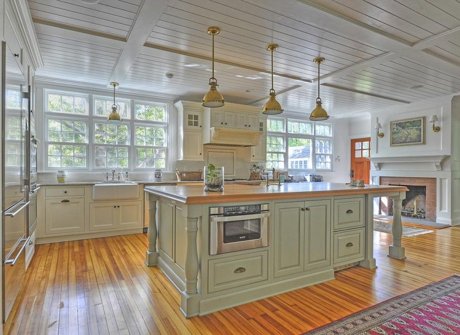 Download Wallpaper White Kitchen Green Island