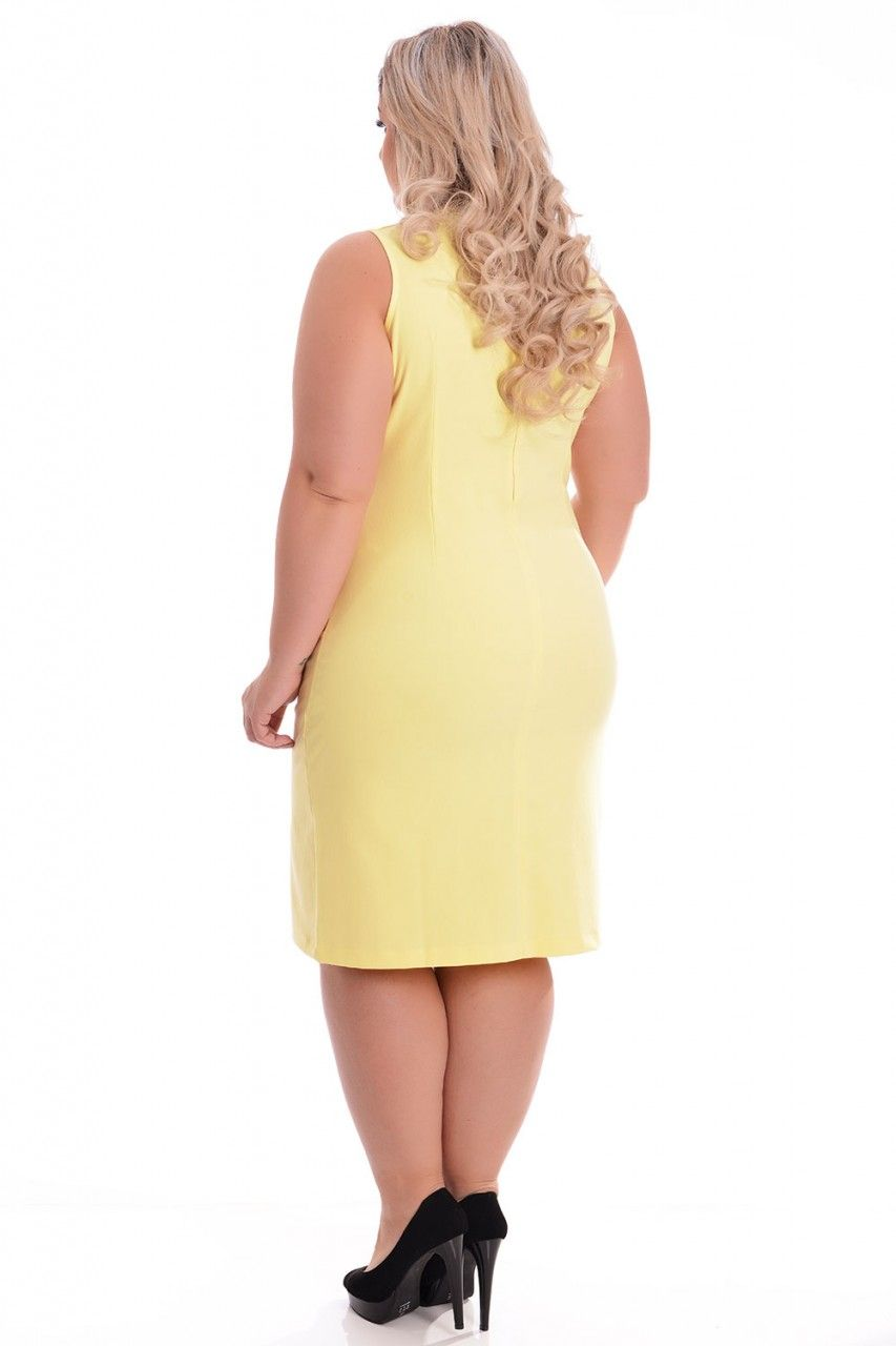 Vestido Plus Size Yellow - VK Moda Plus Size   Moda Feminina