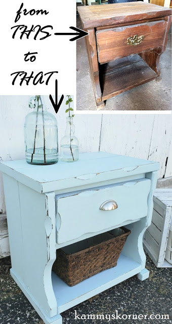 Kammy S Korner Diy Chalk Paint And Pull Gives An 80 S Night Stand A Shabby Chic Look Aqua Blue Refinishing Furniture Nightstand Wood Nightstand