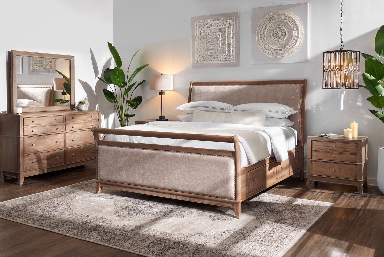 Hazel 6 Piece Queen Upholstered Bedroom Set With 2 Drawer Nightstand Latte Value City Furniture Upholstered Bedroom Set Bedroom Furniture Sets Bedroom Set