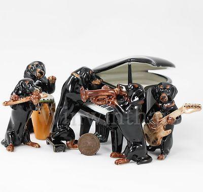 Black Dachshund Dog Puppy Music Band Miniature Animal Ceramic Statue Figurine