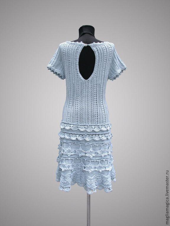 Купить Лили - голубой, однотонный, платье, Платье нарядное, платье летнее, платье вязаное