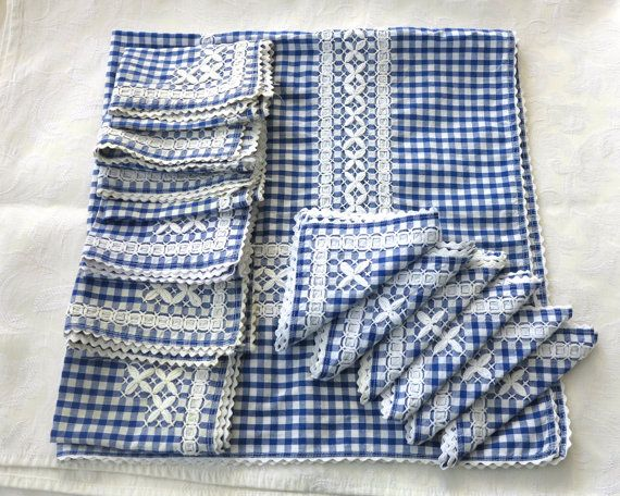 Vintage Handmade Blue And White Cotton Gingham Tablecloth, 6 Placemats, 6  Napkins, White