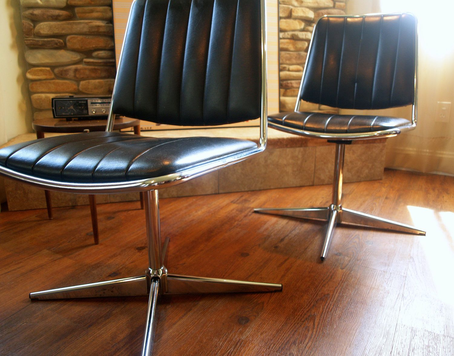 black and chrome furniture. 1967 Vintage Mcm Black Is The New Chromcraft Chair Mod Mid Century Modern Furniture Chrome Metal Faux Leather Propeller Swivel Base And _