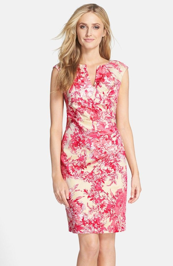 Floral Print Cotton Side Pleated Sheath Dress (Regular & Petite ...