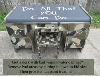 My Repurposed Life-old damaged desk cut down to kid size, painted with a fun camouflaged pattern.