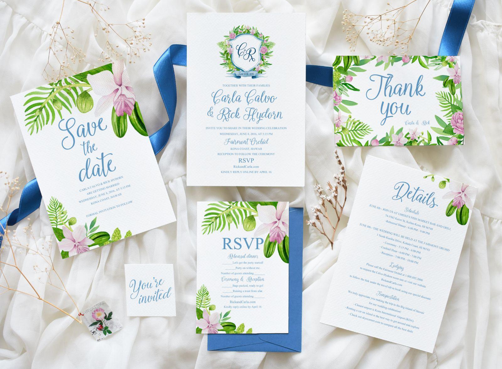 Custom Watercolor Tropical Wedding Invitation Suite Blue Wedding