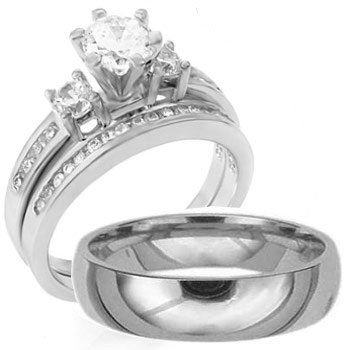 3 Pieces Men S Women His Hers 925 Sterling Silver Anium Engagement Wedding Ring Set