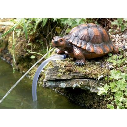 Turtle pond spitter statue this realistic looking pondside ornament spits water from its mouth Pond ornaments