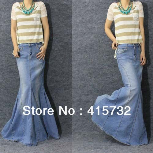 0c05fd6a314 Free Shipping 2013 New Fashion Long Maxi Denim Blue Skirts For Women Floor  length Mermaid Fish Tail Jeans XL Skirts With Slit  38.00