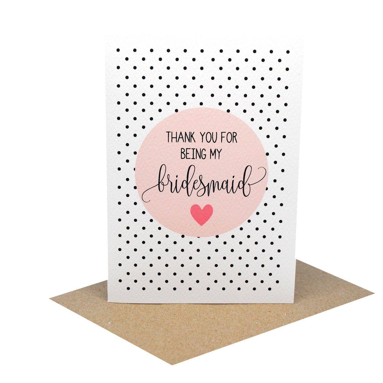 Thank You Bridesmaid Blush Handmade Design And Wedding Card