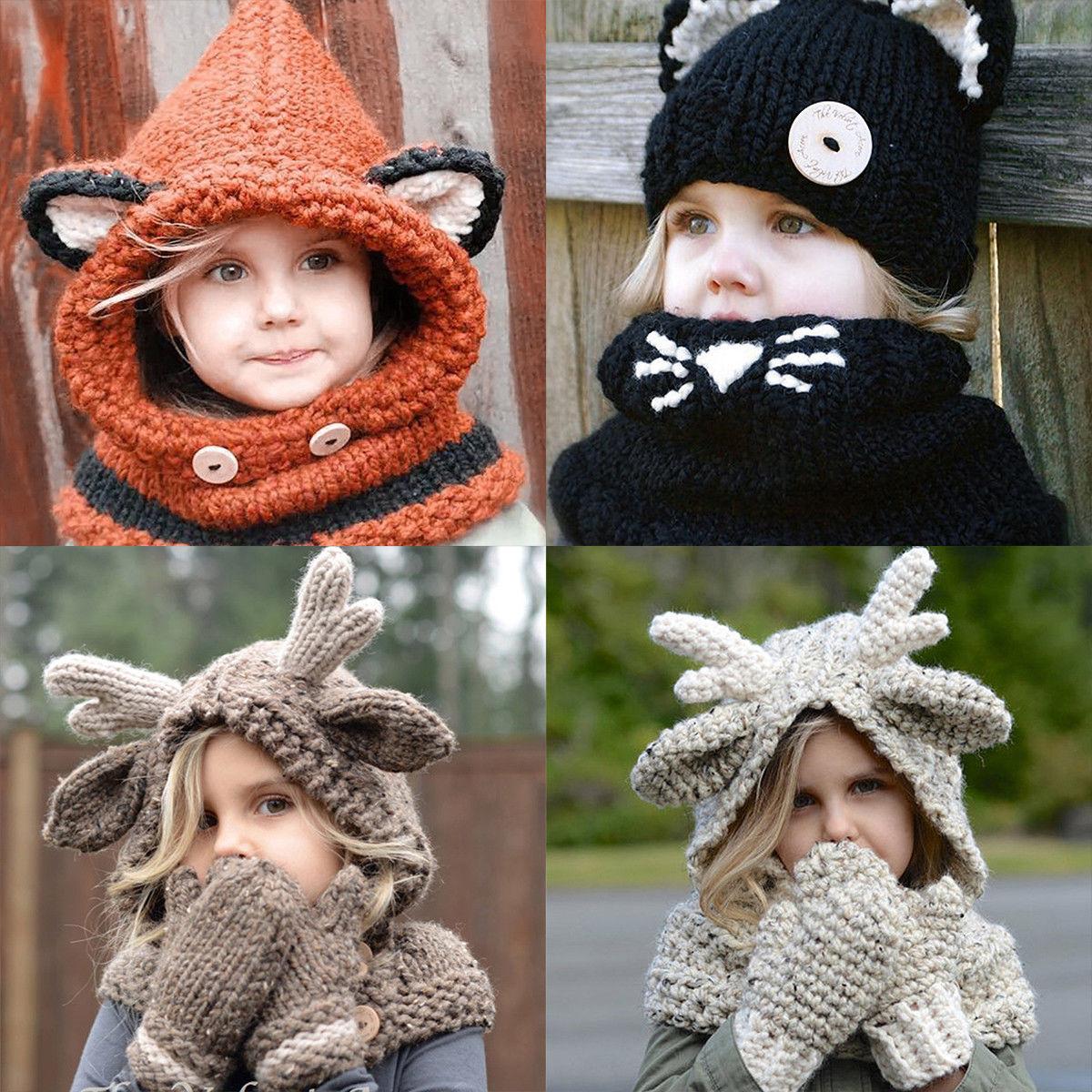 d2c766cd8fd  10.03 - Baby Girl Boy Kids Winter Animals Hooded Scarf Hat Wool Knitted Crochet  Cap Cute  ebay  Fashion