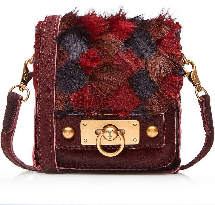 Anna Sui Leather Shoulder Bag Bag with Fur
