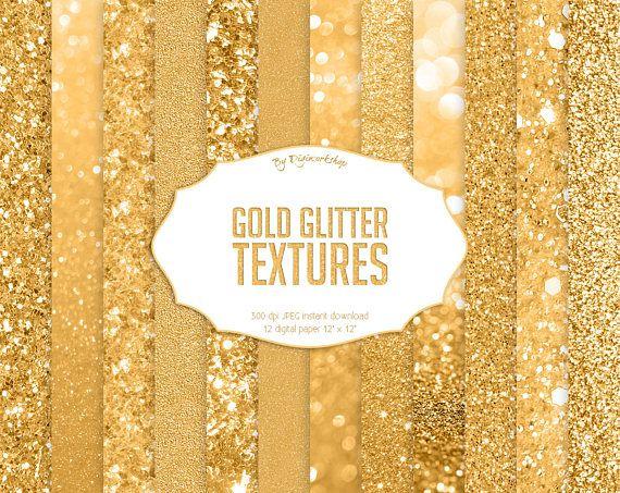 """Gold Glitter Digital Paper """"Gold Glitter Textures"""" bright golden"""