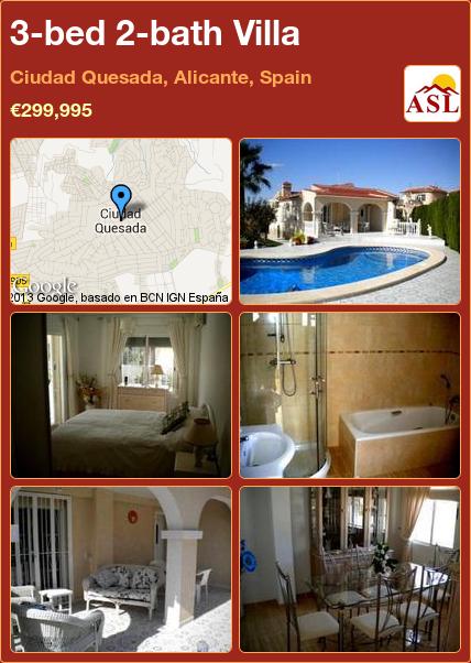 3-bed 2-bath Villa in Ciudad Quesada, Alicante, Spain ►€299,995 #PropertyForSaleInSpain