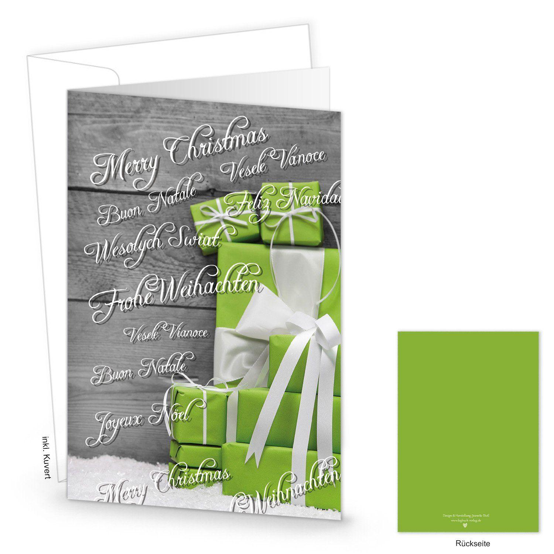 10 Stück gleiche Weihnachtskarten Grußkarten Weihnachten grüne Geschenke mit Weihnachtsgrüßen in mehreren Sprachen